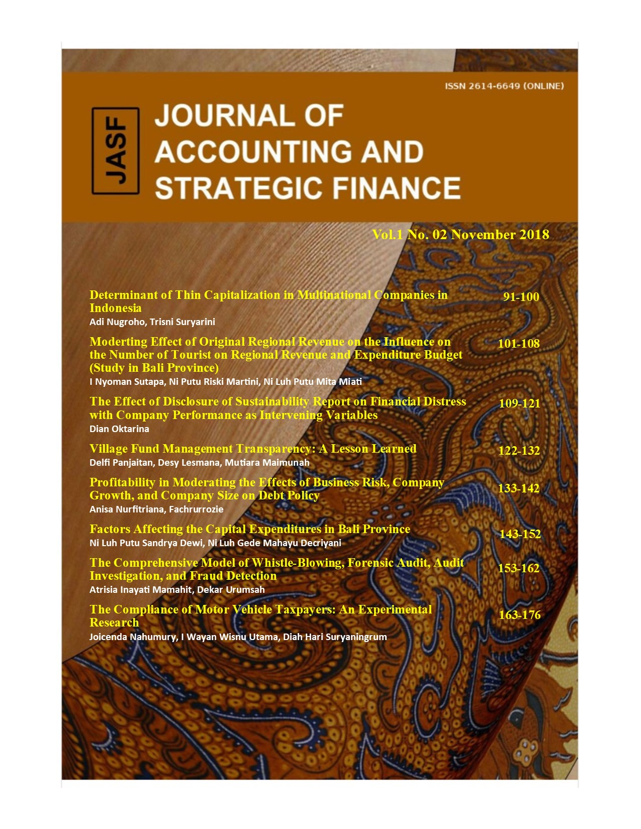 Vol 1 No 2 (2018): Journal of Accounting and Strategic
